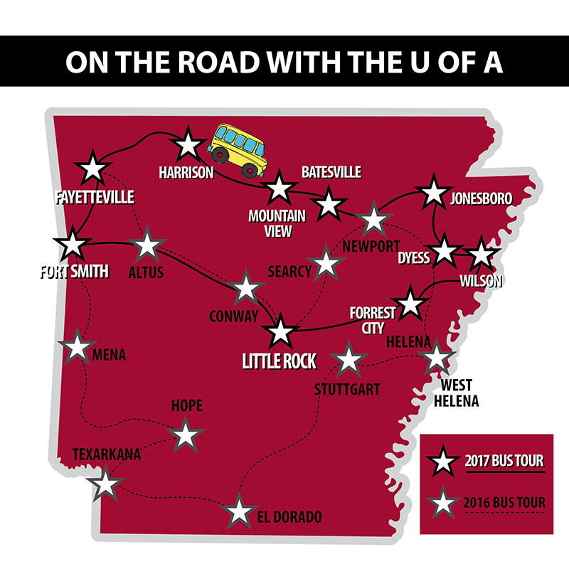 On The Road With The U of A map