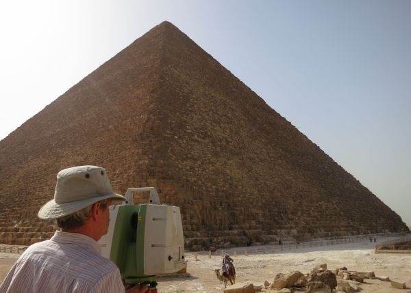 CAST researcher Malcolm Williamson uses a scanner that utilizes light detection and ranging technology to scan the Great Pyramid of Giza in Egypt. Photo courtesy Atlantic Productions