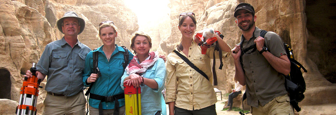 CAST researchers paused to take a group photo on location in Petra, Jordan. From left to right, Malcolm Williamson, Eileen Ernenwein, Caitlin Stevens, Katie Simon and Adam Barnes.