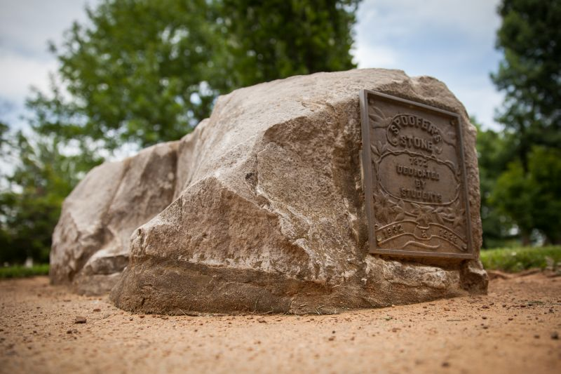 During the late 1800s, male and female students were not allowed to mingle, so Spoofer's Stone became the place where marriage proposals happened at the University of Arkansas.